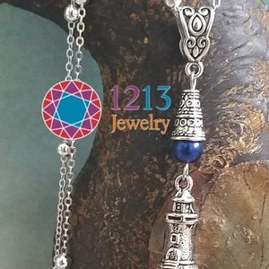 Artist Created STERLING CHAIN Lighthouse Necklace
